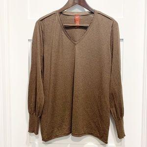 Olsen Europe Brown V-Neck Sweater with Silk Detail